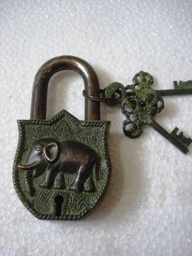 ANTIQUE Style ELEPHANT  Type Padlock - Lock with Key - Brass Made