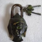 ANTIQUE Style LORD BUDDHA Type  Padlock - Lock with Key - Black Style Brass (A)