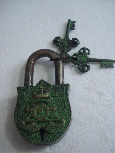 ANTIQUE Style ROYAL Padlock - Lock with Key - Brass Made (A)
