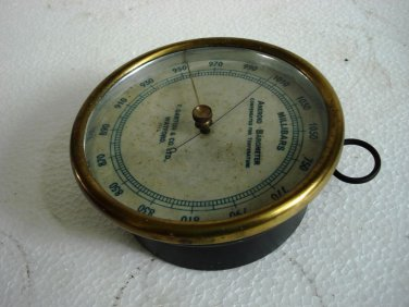 F. DARTON & Co. Ltd. Watford Circa 1920  Aneroid Barometer * No. 1016 * Brass
