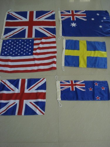 Lot of 600 pieces FLAGS - USA, ENGLAND, AUSTRALIA, SWEDEN, NEW ZEALAND, UK