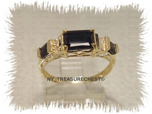 Attractive Genuine Midnight Blue Sapphire and Diamonds Solid Yellow Gold Ring