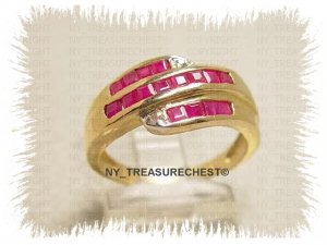 Outstanding Genuine Ruby and Diamonds Ring in Solid Yellow Gold