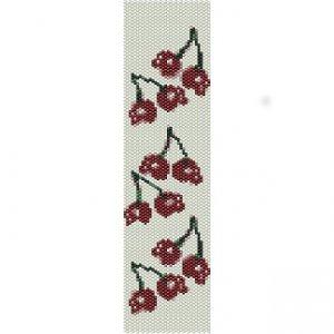 CHERRY SKULLS - PEYOTE beading pattern for cuff bracelet SALE HALF PRICE OFF