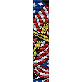 Patriotic design pattern peyote beading pattern for cuff for Patriotic beaded jewelry patterns