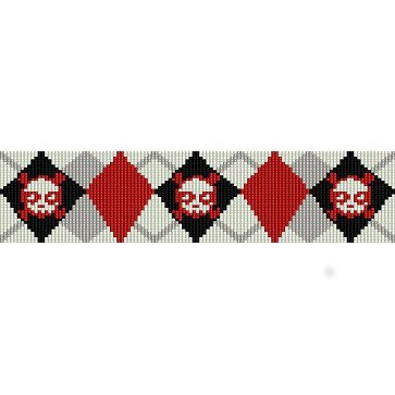 ARGYLE SKULLS  - LOOM beading pattern for cuff bracelet SALE HALF PRICE OFF