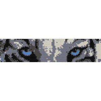 Snow Tigers Eyes Loom Beading Pattern For Cuff Bracelet