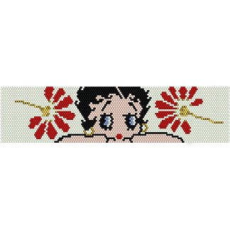 BETTY BOOP IN FLOWERS  - LOOM beading pattern for cuff bracelet SALE HALF PRICE OFF