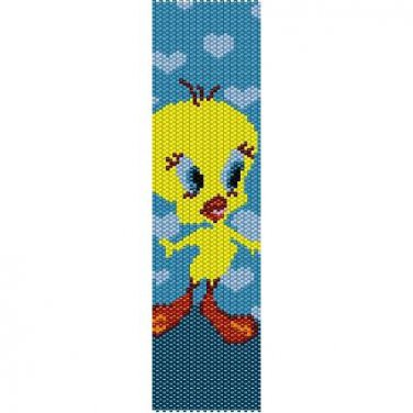 TWEETIE IN LOVE  - LOOM beading pattern for cuff bracelet SALE HALF PRICE OFF