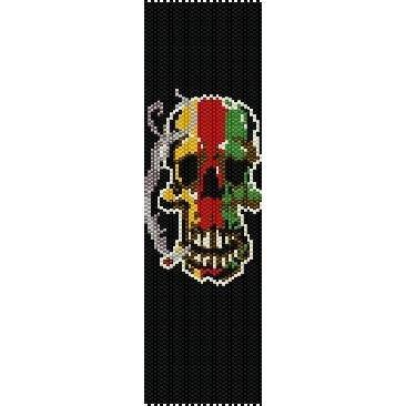 RASTA SKULL  - LOOM beading pattern for cuff bracelet SALE HALF PRICE OFF
