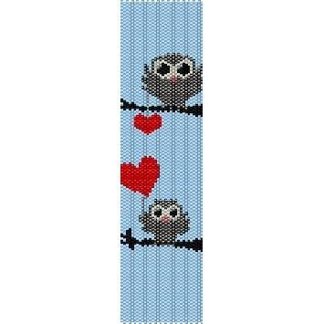 OWLS IN LOVE  - LOOM beading pattern for cuff bracelet SALE HALF PRICE OFF