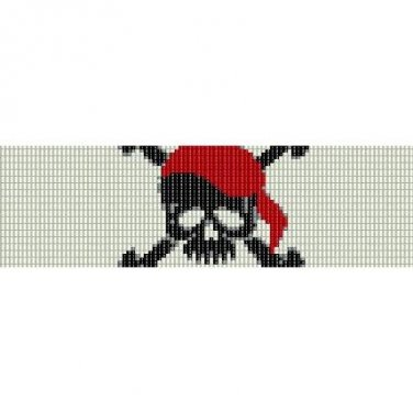PIRATE SKULL JOLLY ROGER  - LOOM beading pattern for cuff bracelet SALE HALF PRICE OFF