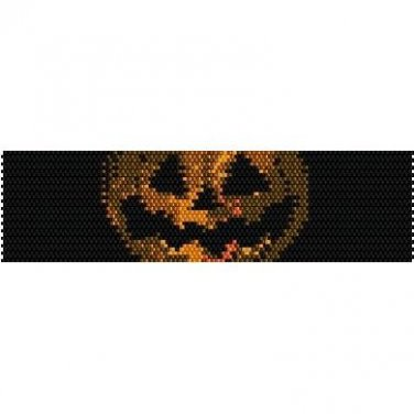SCARY PUMPKIN HALLOWEEN  - LOOM beading pattern for cuff bracelet