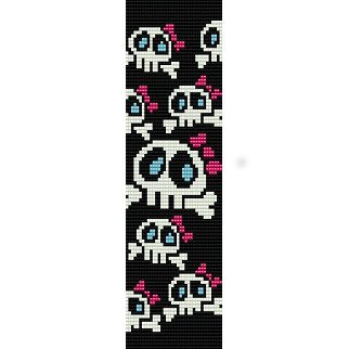 GIRLY CUTE SKULLS WITH BOWS  - LOOM beading pattern for cuff bracelet SALE HALF PRICE OFF