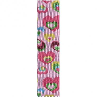 COLORFUL HEARTS  - LOOM beading pattern for cuff bracelet SALE HALF PRICE OFF