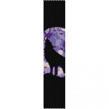 HOWLING WOLF PURPLE MOON  - LOOM beading pattern for cuff bracelet SALE HALF PRICE OFF