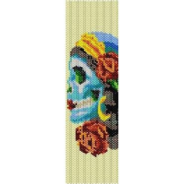 SUGAR SKULL CANDY  - LOOM beading pattern for cuff bracelet SALE HALF PRICE OFF