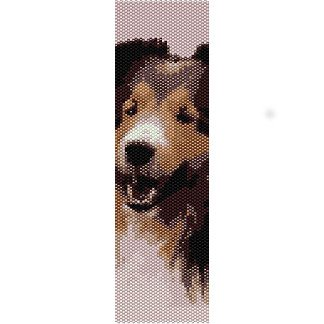 SMILING SHELTIE DOG, SHETLAND SHEEPDOG  - LOOM beading pattern for cuff bracelet SALE HALF PRICE OFF