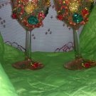 "Wedding wine glasses ""Fall fashion"" 1 set of 2, hand decorated"