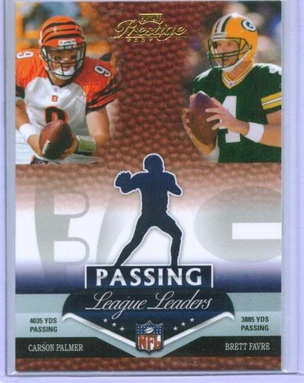 07 Prestige Passing League Leaders Favre & Palmer Insert Card