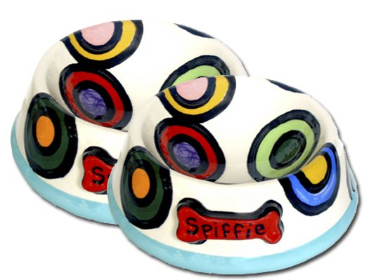 Spiffie Large Persoanalized Hand Painted Dog Bowl