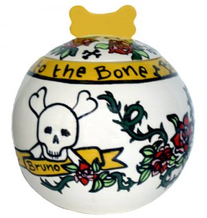 Bad To The Bone 7 Inch Dog Treat Jar - Handpainted - Personalized