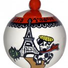 j'adore Paris - Dog Treat Jar 7 Inch - Handpainted - Personalized
