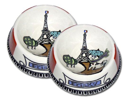 J'adore Paris - Set Of Cat Bowls - Handpainted - Persoanalized