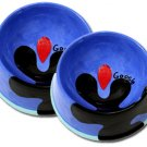 Bloop - Small Set Of Cat Bowls - Handpainted - Personalized Pet Cat Dishes