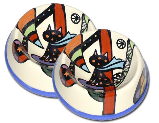Psychedelic Furs - Set Of Two Small Cat Bowls - Handpainted - Personalized Pet Cat Bowls