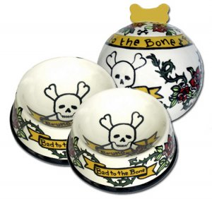 Bad To The Bone - Small Dog Treat Jar And Small Dog Dishes