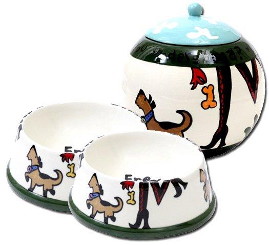 Sassy - Small Dog Bowls And Pet Dog Treat Jar Combo