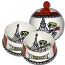 J'adore Paris - Small Set Of Dog Bowls And Small Pet Dog Treat Jar Combo