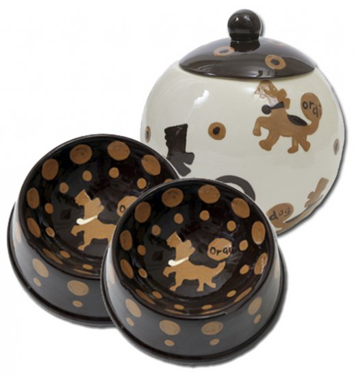 Crunchtime - Small Set Of Dog Bowls - Small Pet Dog Treat Jar Combo