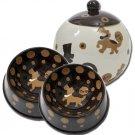 Crunchtime - Small Set Of Dog Bowls - Small Pet Dog Treat Jar Combo