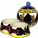 Feed Me! - Small Set Of Dog Bowls - Small Pet Dog Treat Jar Combo
