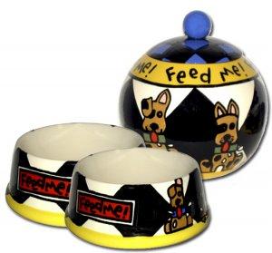 Feed Me! - Small Set Of Dog Bowls - Small Pet Dog Treat Jar Combo