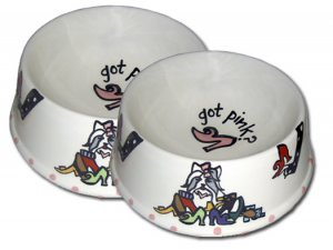 Got Pink - Large Dog Bowl Set - Handpainted - Personalized