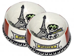 J'adore Paris - Large Dog Bowl Set - Haindpainted - Personalized