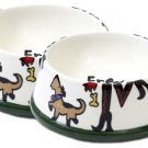 Sassy - Large Dog Bowl Set - Handpainted - Personalized