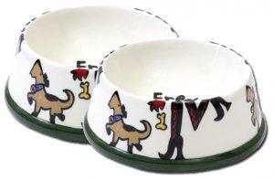 Sassy - Large Dog Bowl Set - Handpainted - Personalized