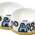Bonznmice - Large Dog Bowl Set - Handpainted - Personalized