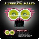 1 Set New 4 Model 2x Cree XML U2 LED 2000 Lumens Bike Light +Power Indicate Waterproof Battery Pack