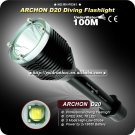 ARCHON D20 Cree XM-L T6 1000 Lumen 3-Mode Professional Diving Led Flashlight 2*18650 Diving Torch