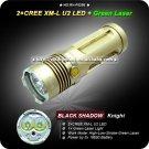 Black Shadow Knight 2x Cree XM-L U2 LED +1 x Green Laser Light 4 Mode 3x18650 High Power LED Torch