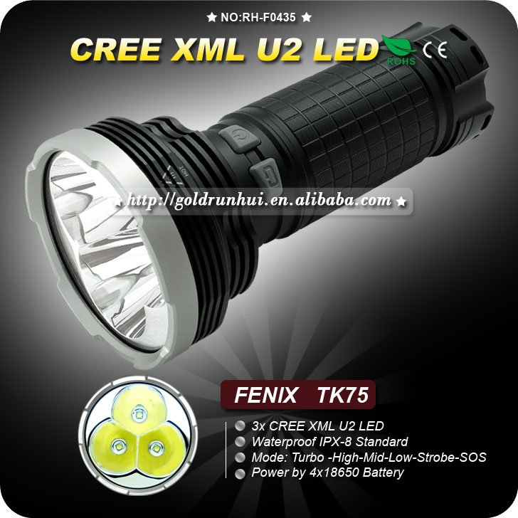 TK75 3*CREE XM-L U2 LED 2600 lumens Torch Search Rescue LED Flashlight