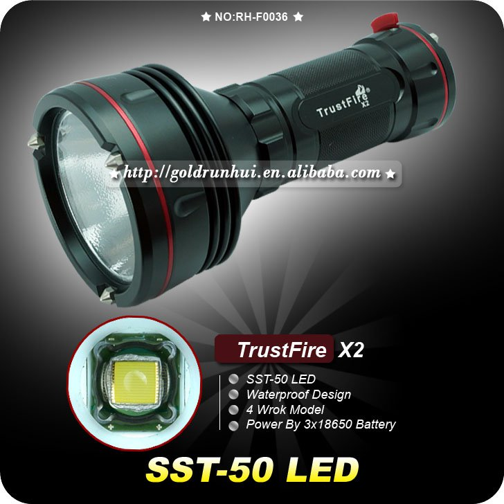 1PC Trustfire X2 1300 Lumen SST-50 LED Flashlight 4 Mode 3*18650 Hiking Fishing Torch