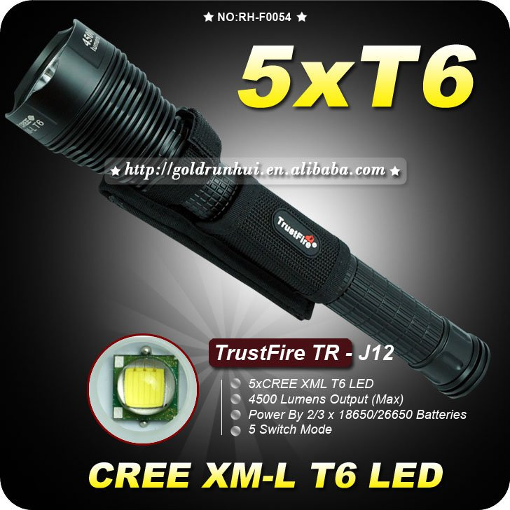 1PC Trustfire TR-J12 5 Mode 4500 Lumens 5XCREE XM-L T6 LED 18650 or 26650 Battery High Power Torch