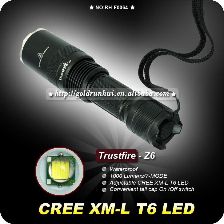 New Hot !! Flashlight ,TrustFire Z6 1300 Lumens CREE XML XM-L T6 LED Flashlight Zoomable Torch