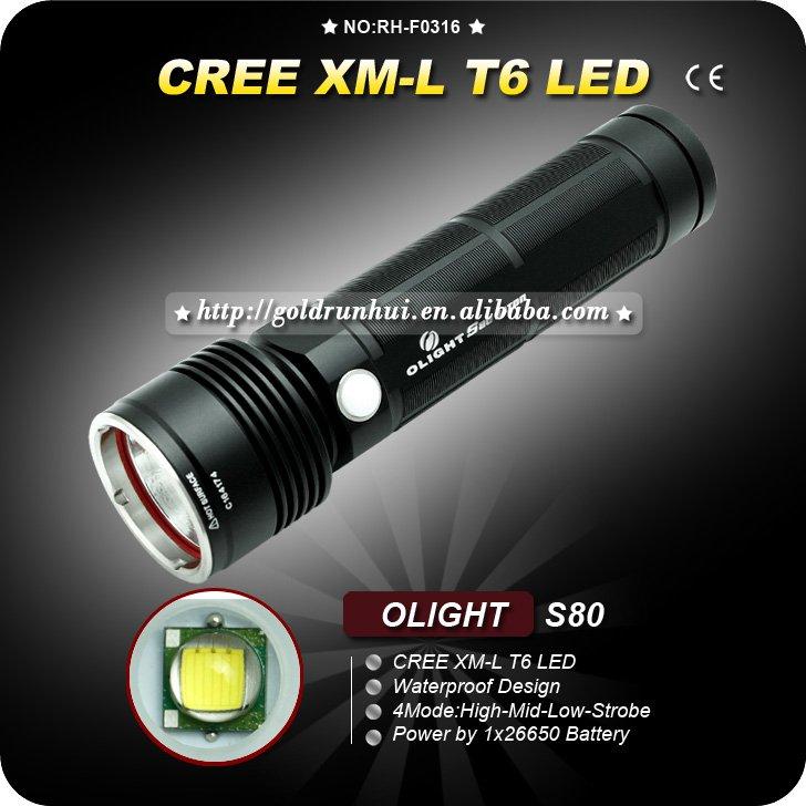 1SET Flashlight OLIGHT S80 Cree XML T6 LED Waterproof Camping Hiking torch